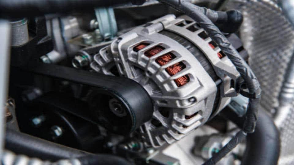 vehicle's alternator installed on engine room